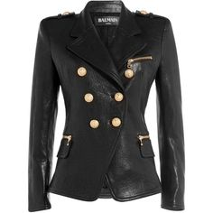 Balmain Leather Blazer ($4,405) ❤ liked on Polyvore featuring outerwear, jackets, blazers, black, slim fit leather jacket, double breasted leather jacket, black slim fit blazer, real leather jacket e balmain jacket