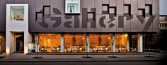 Cafe Graffitiin Varna, Bulgaria designed by Studio Mode.Building in which the Cafe is located houses a modern art gallery. Architects designed the Cafe to have a similar look and feel to the art gallery.