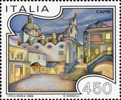 """1986 - Turismo: Capri (Campania) - Veduta della """"Piazzetta"""" e della Chiesa di Santo Stefano"""