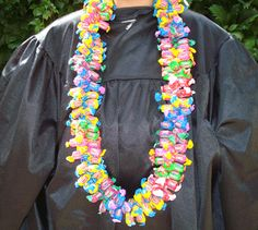 This is a Giant Dubble Bubble Candy Lei!    This particular Dubble Bubble candy lei has multiple flavors and colors. It is designed to pull off a piece of gum without destroying the rest of the lei.