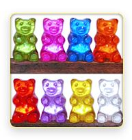 Giant gummy bears that light up (like from iCarly). This would be so cute in my play room.