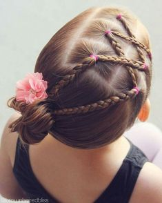 Criss-crossed braids into a side bun for dance. – Ellen Witteveen Criss-crossed braids into a side bun for dance. Criss-crossed braids into a side bun for dance. Girls Hairdos, Lil Girl Hairstyles, Princess Hairstyles, Girls Braids, Braided Hairstyles, Toddler Hairstyles, Party Hairstyles, Side Braids, Short Haircuts