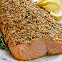 Walnut crusted salmon:1/2 cup whole-wheat panko breadcrumbs  1/2 cup crushed walnuts  1 pound salmon fillets  1/4 teaspoon sea salt  1/4 teaspoon freshly ground pepper  3 tablespoons fresh lemon juice