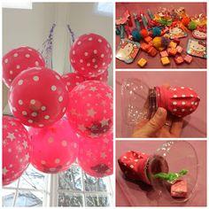 Birthday party balloon piñata, good idea so everyone gets candy and prizes