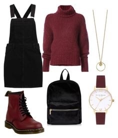 """black and burgundy"" by godhatescaitlin ❤ liked on Polyvore featuring Dr. Martens, BY. Bonnie Young and Topshop"