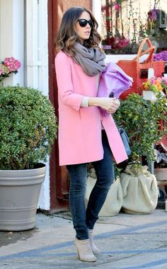 love the pink coat w/the taupe ankle boots & jeans