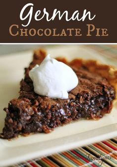 This German Chocolate pie was so good my family ate the entire pie out of the pan! Find all our yummy pins at https://www.pinterest.com/favfamilyrecipz/