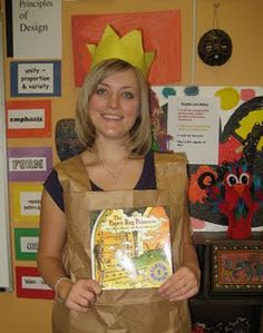 """I dressed up as the """"The Paper Bag Princess"""" for Literacy Day all you need is a lawn bag and some construction paper :)"""