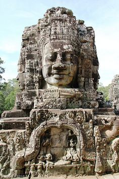 Face of Lokeshvara, Bayon, Cambodia Temple Architecture, Ancient Architecture, Vietnam, Laos, Angkor Wat Cambodia, Khmer Empire, Cambodia Travel, Buddhist Temple, Ancient Ruins
