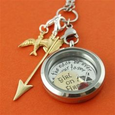 The Hunger Games Locket, Girl On Fire, may the odds be ever in your favor, Katniss Everdeen  SparkleWithJennifer.OrigamiOwl.com