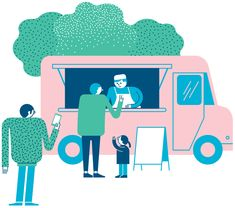 Illustration of Food Truck for Green City Magazin, Real Estate project in Zürich Coffee Illustration, People Illustration, Medical Illustration, Illustration Sketches, Character Illustration, Graphic Design Illustration, Illustrations Posters, Food Poster Design, Food Truck Design