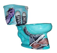 Hand Painted Toilet--Toe Tapping Tennis Shoes