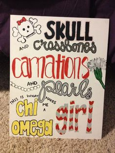 Big little crafting! Exchange carnations for roses and chi omega for alpha gam