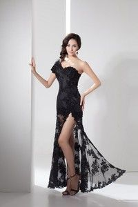 black long prom dress applique sheer one shoulder dress sexy fashion Dresses lace dress party dress open fork simple dress cheap Hand made D...