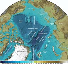 Arctic Ocean Seafloor Features Map: International Bathymetric Chart of the Arctic Ocean annotated with the names of seafloor features. The North Pole is generally Ice covered all year. Earth Two, Continents And Oceans, City Layout, Cultura General, Ancient Mysteries, Natural Phenomena, Historical Maps, Science And Nature, Mother Earth