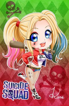 Harley Quinn (chibi) by KARIS-coba. Joker Und Harley Quinn, Harley Quinn Drawing, Margot Robbie Harley Quinn, Suiced Squad, Heros Film, Nail Art Dessin, Harey Quinn, Kawaii 365, Cute Cartoon Wallpapers