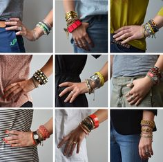 From J.Crew 770 HQ - We're loving the look of layered bracelets. Mixing friendship bracelets, beads, bangles and watches gives every girl's wrist a collected, eclectic feel. The more color and contrast, the better.
