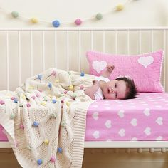 Cotton Knit Pom Pom Baby Blanket 'Pastels' - A Whole Lot of Love