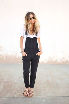 overalls and metallic birks.