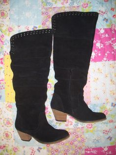 Womens Vintage Black Suede Boots With Stud Detail by Wondarlust, £45.00