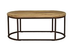 Oval coffee table reclaimed wood and metal 42 x 18 x 24: 1315.