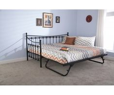 Groupon Goods Global GmbH: Tennessee Daybed, Trundle or Set with Optional Bonnell Mattress With Free Delivery Metal Daybed With Trundle, Daybed With Trundle Bed, Trundle Mattress, Daybed Room, Mattresses, Pull Out Daybed, Office With Daybed, Small Daybed, Day Bed Frame