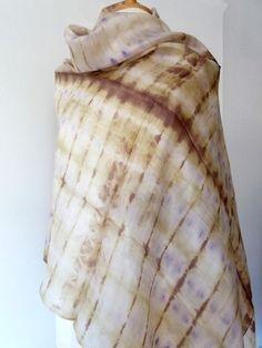 Tie Dye Silk Shawl - Cream - Brown