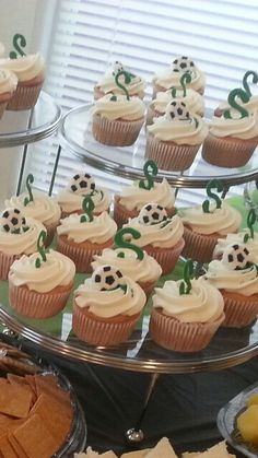 Soccer theme cupcakes Themed Cupcakes, Mini Cupcakes, Cupcake Cakes, Soccer Baby Showers, Soccer Theme, Soccer Practice, Babyshower, Desserts, Ideas