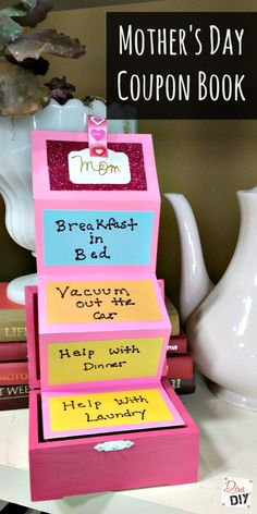 Easy tutorial for making a unique Mother's Day Coupon Book. Kids craft they … Easy tutorial for making a unique Mother's Day Coupon Book. Kids craft they love making & you will love displaying all year. The Perfect Mothers Day Gift! Homemade Mothers Day Gifts, Diy Gifts For Mom, Unique Mothers Day Gifts, Mothers Day Crafts For Kids, Mothers Day Presents, Mothers Day Cards, Mother Day Gifts, Diy For Kids, Easy Gifts
