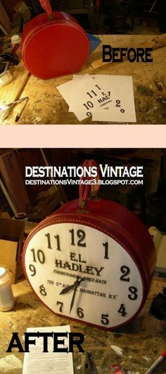 Use a round suitcase from the thrift store and a few other items to get a one-of-a-kind vintage-looking clock.