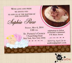 Baby Angel Digital Invitation - Baptism Photo Invite, Birthday Party Invitation, Printable Invite, DIY Invitation