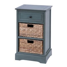 Woodcraft Life Style Cabinet With 2 Wicker Baskets | Overstock.com Shopping - The Best Deals on Coffee, Sofa & End Tables