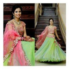 designers green net un stitched bollywood lehenga at Mirraw Half Saree Designs, Bridal Blouse Designs, Lehenga Designs, Half Saree Lehenga, Green Lehenga, Lehenga Suit, Bollywood Lehenga, Lengha Choli, Anarkali