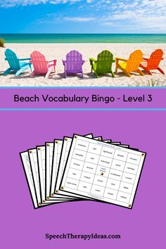 Bring the fun of the beach to your therapy session while reinforcing higher level vocabulary terms with this bingo game. These are terms that may also be found in your students science lessons (e.g., crustacean, submerge, reef).  Six bingo boards and a page of calling cards are included. Speech Therapy Games, Therapy Activities, Therapy Ideas, Bingo Board, Calling Cards, Picture Cards, Science Lessons, Speech And Language, Banks