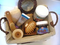 DIY Spa Gift Basket - fill it full of a variety of spa items such as candles, washcloth, bathpuff, nail tools, bodywash, a good book, chocolates, facial mask, bath salts, cute card.
