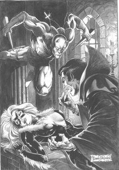 Daredevil vs Dracula ft. Black Cat by Frank Brunner Comic Art
