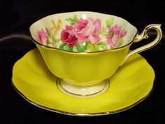 Royal Albert Tea Cup & Saucer ~ Pink Cabbage Roses on Lemon Yellow