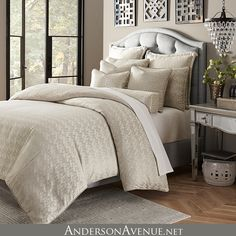 The Carlyle is a soft, neutral bedding collection with shimmering textured fabrics and sleek and beautiful designer details. This luxury comforter set is available in king and queen sizes
