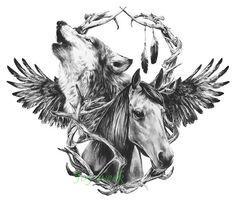 Caballo zorro lobo tatuaje impermeable etiqueta engomada Del Tatuaje Temporal de Transferencia de Agua tatuaje falso tatuaje flash para hombres mujeres