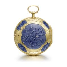 J. LE ROY, PARIS A FINE GOLD AND ENAMEL VERGE WATCH CIRCA 1770 • gilt full plate verge movement, pierced and engraved balance bridge, fusee and chain, signed J Le Roy, Paris • white enamel dial, Arabic numerals • finely engraved case with blue translucent enamel panels decorating both bezels, case back centred with floral motifs