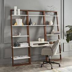 Ladder Shelf Storage Desk Set Wall Desk + 2 Wide Shelves, Basalt Gray/Oak at West Elm - Office Furniture - Desk Ladder Shelf Desk, Narrow Bookshelf, Bookshelf Desk, Wall Desk, Bookshelves, Bedroom Bookshelf, Modern Bookshelf, Cheap Living Room Sets, Living Room Styles