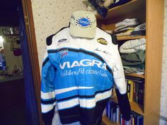 mark martin nascar jacket with signature and hat