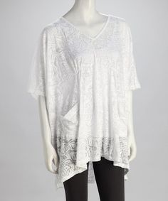 Take a look at this White Jungle Burnout Hi-Low Top on zulily today!