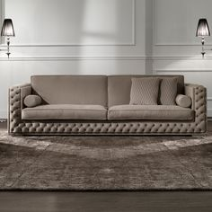 Low Leather Button Upholstered Box Sofa at Juliettes Interiors. Sofa Set Designs, L Shaped Sofa Designs, Modern Sofa Designs, Ceiling Design Living Room, Interior Design Living Room, Sofa Cloth, Sofa Drawing, Unique Sofas, Classic Sofa