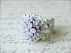 Purple and White Filigree Ring