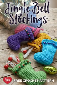These colorful stockings are perfect for your tree or clever holiday giving. Use them to present gift cards, to put treats at each dinner place setting, or to create a banner by hanging them from a ribbon. Crochet Christmas Stocking Pattern, Crochet Stocking, Crochet Christmas Decorations, Crochet Ornaments, Holiday Crochet, Christmas Knitting, Crochet Snowflakes, Christmas Patterns, Crochet Crafts