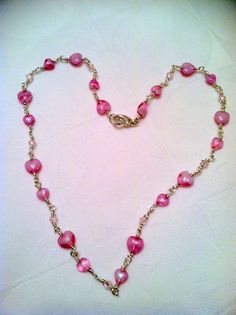 Pink Heart Wire Wrapped Necklace