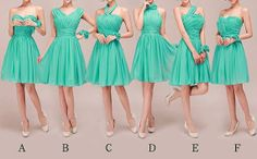Turquoise Bridesmaid Dress, Popular Knee-Length Chiffon Bridesmaid Dress