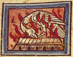 A phoenix burns on its funeral pyre. Medieval Manuscript, Medieval Art, Renaissance, Funeral Pyre, Phoenix, Stream Of Consciousness, Chivalry, Middle Ages, Old School