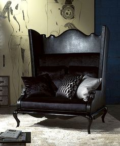 TL FURNITURE | CHIC COUTURE ARMCHAIRS ArtE190 Queen Anne Shaped back and wing detailed armchair sofa and bed.